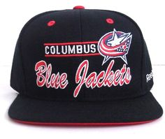 sneakers for cheap 0e55e 54fec HQ! new COLUMBUS BLUE JACKETS SNAPBACK HAT Wool BLACK Red White Script  Men Women