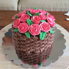 A basket of roses. Chocolate cake, chocolate cream basket weave, royal icing roses