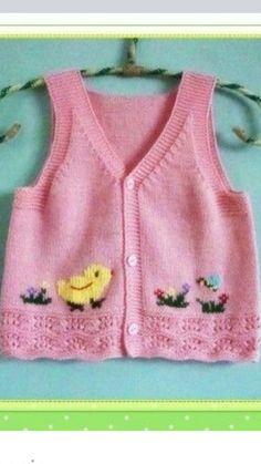 Yelek Knit Or Crochet, Crochet For Kids, Crochet Baby, Baby Knitting Patterns, Baby Patterns, Little Cotton Rabbits, Crochet Butterfly, Blanket Stitch, Baby Cardigan