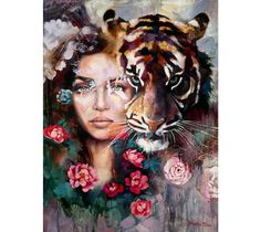 Steadfast Heart - an original portrait oil painting by Dimitra Milan that features a young woman with a tiger, surrounded by flowers.