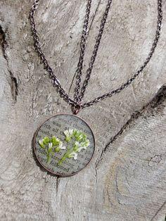 Real Pressed Flower Botanical Resin Necklace