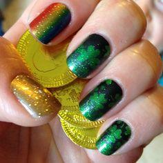 23 New Ideas Nails Green And Gold Eyeshadows Acrylic Nail Designs, Nail Art Designs, Cute Nails, Pretty Nails, Irish Nails, Zebra Print Nails, St Patricks Day Nails, Saint Patricks, Seasonal Nails