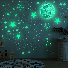 Wall Stickers Stars, Les Stickers, Cheap Wall Stickers, Wall Stickers Home Decor, Wall Decals, Bedroom Ceiling, Ceiling Decor, Glow Stars, Stair Decor