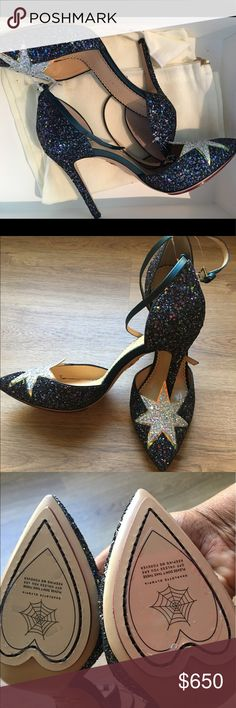 NEVER WORN - Charlotte Olympia Heels Calf leather heels from Charlotte Olympia featuring a pointed toe, a brand embossed insole, glitter details,  ankle strap with a side buckle fastening, a high heel and a silver-tone star detail. 4.3 inch heel Charlotte Olympia Shoes Heels