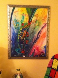 """Cathy's Original """"Frog Climb"""" just perfect on that color wall....Cathy also has my Original """"Gang"""" a grouping of Flamingo :) thanks for sharing Cathy! See you in the spring"""