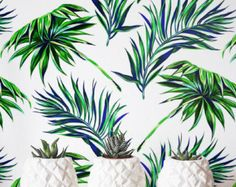 Palm leaf Wallpaper Removable Wallpaper Self-adhesive by Jumanjii