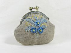 Hand embroidered  linen coin purse blue and yellow by JRsbags, €25.00