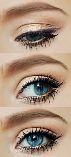 Products: Maybelline 24 hour color tattoo( in eternal gold) Urban Decay Naked 1 or 2 (Half Baked and a mix from Buck+Naked in the crease) ...