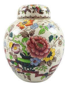 English Mason's Antique Transferware Ginger Jar