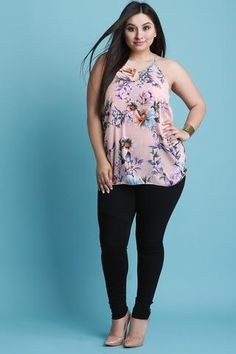 Sleeveless Floral Print Ruched Sides Keyhole Top