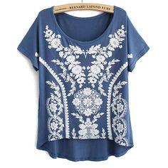 Sweet Vintage Lace Print Modal Short T-shirt