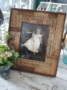 picture frame from old yard sticks & rulers. Would be easy diy project. #recycle