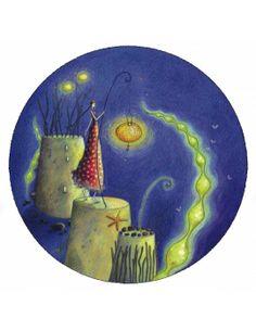 """Gaëlle Boissonnard carte postale ronde (13 cm) """"Les châteaux de sable la nuit"""" Art And Illustration, Illustrations And Posters, Art Carte, Atelier D Art, Holly Hobbie, Art Moderne, Beautiful Drawings, Whimsical Art, Vincent Van Gogh"""
