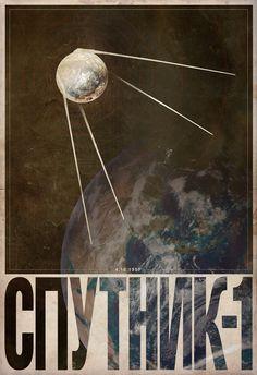 This isn't a real propaganda poster, but it's too lovely not to post. Sputnik by Justin Van Genderen. Frames On Wall, Framed Wall Art, Wall Art Prints, Russian Constructivism, Propaganda Art, Communist Propaganda, Soviet Art, Space Race, Vintage Space