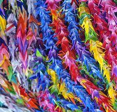 Paper cranes in Japan ...