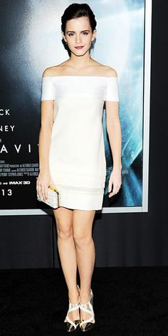 """Emma Watson in a J. Mendel (Spring 2014) dress and J. Mendel 'Criss Cross' metallic pumps at the New York premiere of """"Gravity"""", October 2013."""