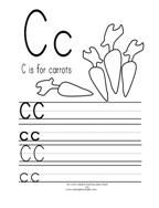 C is for Carrots Printing Practice Page from Making Learning Fun.