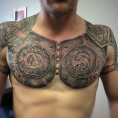 101 Incredible Armor Tattoo Designs You Need to See! Armor Sleeve Tattoo, Armor Of God Tattoo, Armour Tattoo, Shoulder Armor Tattoo, Shield Tattoo, Sleeve Tattoos, Norse Tattoo, Cool Chest Tattoos, Chest Tattoos For Women