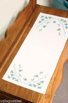 Dimensions Stamped #crossstitch BLUE #FLOWERS Dresser Scarf ♥ #ebay #sale #floral #gift #home #bedroom #linen #craft #DIY #create #project #handcraft #handmade #needlework #stitching