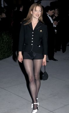 Julianne Moore sexy outfit with sheer black pantyhose and heels