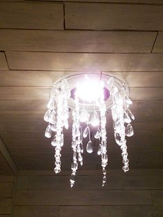Homemade faux crystal chandelier, flush mount (DIY)