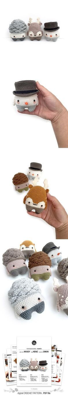 Crochet Amigurumi Ideas 4 seasons series Winter amigurumi pattern by Lalylala Kawaii Crochet, Love Crochet, Crochet Crafts, Yarn Crafts, Crochet Yarn, Crochet Projects, Crochet Amigurumi, Amigurumi Patterns, Crochet Dolls