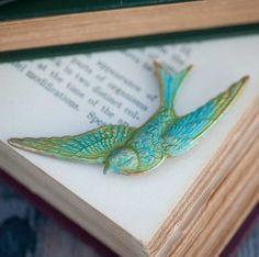 Verdigris Swallow Brooch Vintage Woodland Bird Indie Jewelry Natural History Aged Brass Verdigris: