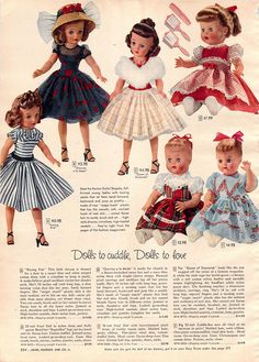 1956 Sears Christmas Catalog P234 My doll but dress is green and white stripes Hair is red