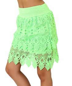 Neon Green Lace Skirt by Elegant Apparel #zulilyfinds. Love this color. Only $ 19.99
