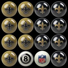 New Orleans Saints Home vs Away Billiard Balls for the pool table that needs a sporty edge!