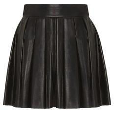 Alice + Olivia ($495) ❤ liked on Polyvore featuring skirts, bottoms, saias, faldas, black, black zipper skirt, black skirt, black box pleat skirt, black leather skirt and knee length leather skirt