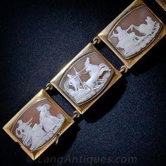 Chariot Cameos Bracelet - Victorian Jewelry - Vintage Jewelry