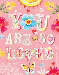 Pink You Are So Loved Print Inspirational Wall by thewheatfield