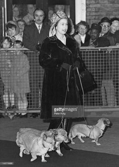 Queen Elizabeth II with her dogs at Liverpool Street Station in London, 28th December 1972. She is en route to Sandringham for a family holiday.