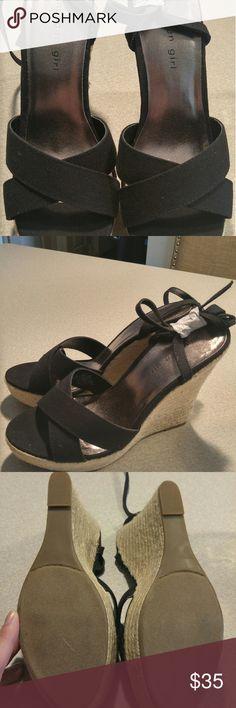 Black Madden Girl wedge sandals Brand new black wedge sandals never worn. Madden Girl Shoes Wedges