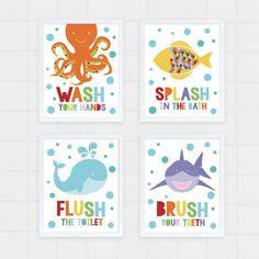 Kids bathroom art set - sea themed prints - colourful kids decor, childrens art, wash flush brush splash, shark octopus fish whale, ocean - This fun set of colourful sea themed bathroom art reminds kids to brush their… - Sea Theme Bathroom, Kids Bathroom Art, Ocean Bathroom, Childrens Bathroom, Family Bathroom, Bathroom Artwork, Baby Bathroom, Bathroom Marble, Nautical Bathrooms