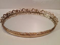 Oval Mirror with metal trim by CunningVintageCo on Etsy, $24.00