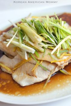 steamed tilapia with ginger and scallions.