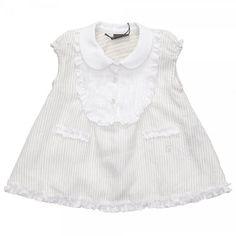 Designer Baby: Fendi Beige & White Stripe Linen Dress