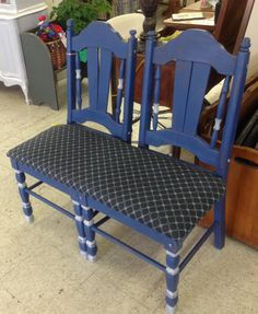 Bench painted in Napoleonic Blue and Paris Grey