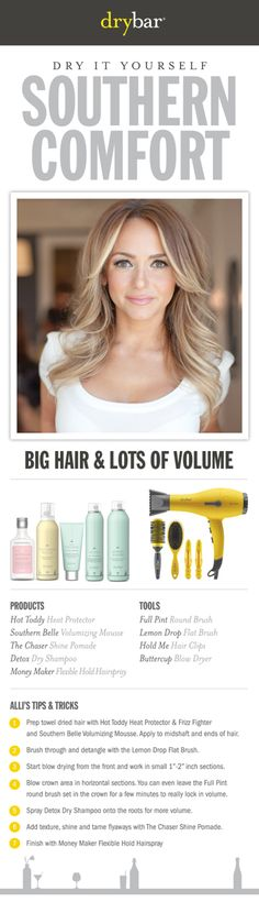 Get the look from DRYBAR! Founded by longtime professional hairstylist Alli Webb, Drybar offers a line of styling products and tools designed specifically to achieve the perfect blowout.