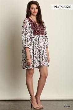 Plus Size Mini Dress / Tunic Boho Peasant Burgundy Ivory Floral XL 1XL 2XL