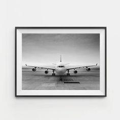 Aviation Decor, Aircraft Decor, Airplane Art Print, Black And White Art, Aviation Wall Art, Gift for Pilot, Airbus A340, Black Friday Sale #aviationideas