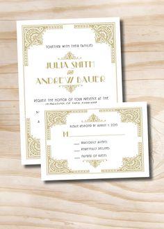 ART DECO GATSBY Wedding Invitation/Response Card - 100 Professionally Printed Invitations & Response Cards