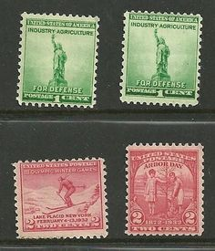 4 US stamps, # 716 -2¢ Winter Olympics, # 717-2¢, #899 -1¢ Statue of Liberty MNH