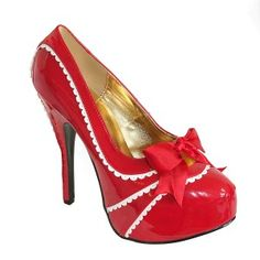 TEEZE 14 Red Scalloped Pinup Heels