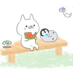 もじじさんはInstagramを利用しています:「ゆっくり〜まったり〜 #ねこぺん日和#ねこぺん#ねこくん#ぺんちゃん#夏」 Penguin Love, Cute Penguins, Chibi Characters, Cute Characters, Doodle Drawings, Cute Drawings, Japan Design, Cute Cartoon Wallpapers, Dream Art
