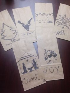Lunch bag Christmas decoration. Sharpie free-hand drawings. Gift bags