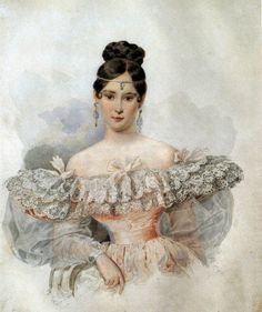 1832 Natalia Pushkina by Karl Brullov (Pushkin Museum, Moskva Russia) | Grand Ladies | gogm