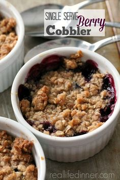 Berry cobbler recipe make it for one two or twenty real life dinner a small batch of cinnamon rolls for two made without yeast! so quick and easy you can make these any day of the week! Single Serve Desserts, Single Serving Recipes, Small Desserts, Köstliche Desserts, Delicious Desserts, Dessert Recipes, Healthy Desserts, Berry Cobbler, Fruit Cobbler